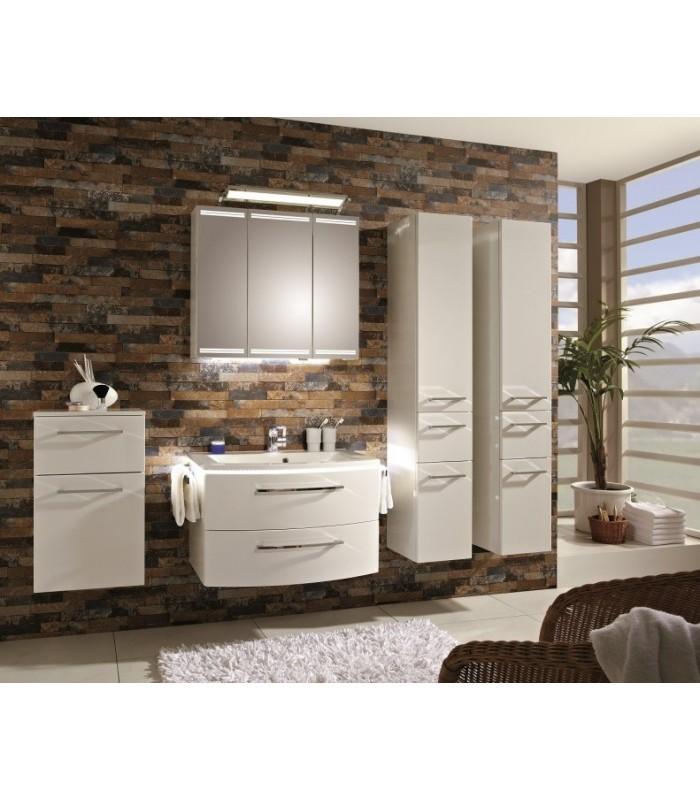 Meuble suspendu salle de bain lunic 80 pelipal france pour for Petit meuble salle de bain suspendu