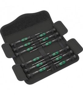 Kit tournevis WERA micro Electronicien Kraftform 12 pcs plat,cruciforme,clé Allen