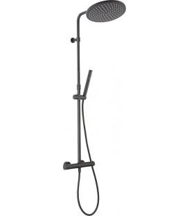 Colonne de douche ENZAN NERO pomme de douche et douchette baton avec mitigeur thermostatique