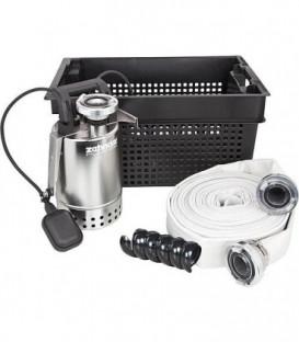 Kit d'urgence avec pompe inox E-ZW 65 A clapet anti-retour, flotteur et agrafe de fixation