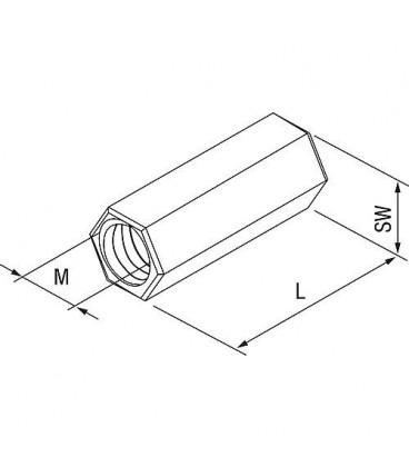 Manchon d´extension VM M10 en inox A4 L 30 mm