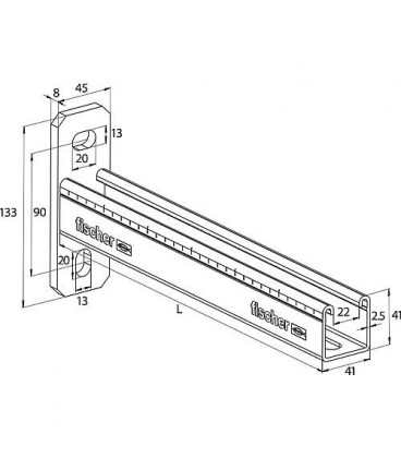 Console FCA en inox A4 pour profilé 41 L 600 mm