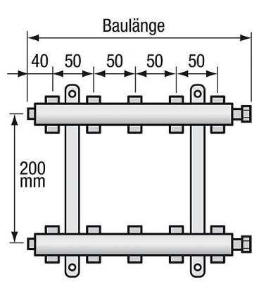 "Repartiteur de chauffage Strawa Type e-class 5308 8groupes ecrou chapeau 1"""