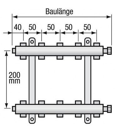 "Repartiteur de chauffage Strawa Type e-class 5305 5groupes ecrou chapeau 1"""