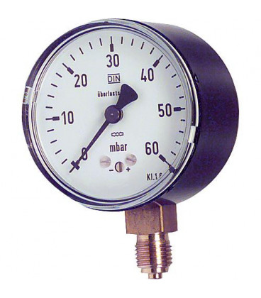 "manometre a capsule KP 63.3 1/4"" rad. DN8 0-60 mbars"