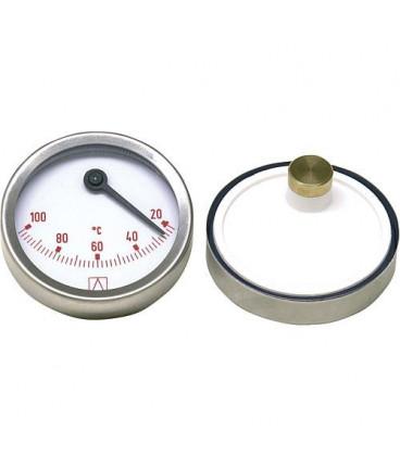 Thermometre bimetal a aiguilles D 63mm excentrique, 0-100°C, rouge
