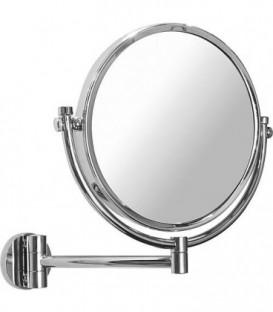 Miroir cosmetique mural Elenita 1 et 5 grossissement diam 190mm, fixations incluses