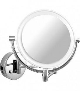 Miroir cosmetique mural Eliam avec éclairage, 1-5 grossissement diam 192/156 mm