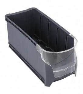 Boite en plastique S-BOXX G avec fenetre de controle gris 351x147x153mm