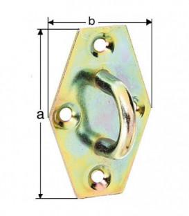 Moraillon a oeillet 64x41 mm jaune zingué