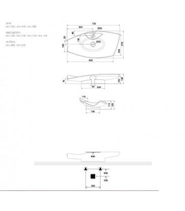Vasque Kong 70R avec trou robienetterie