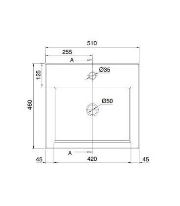 Square vasque 51 x 46 cm