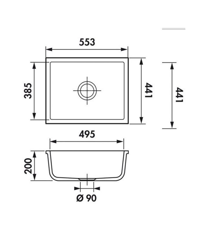 Cuve sous plan rectangulaire verona 55 js pour votre cuisine - Plan cuisine rectangulaire ...